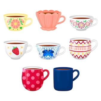 Coleção de xícaras de chá diferentes