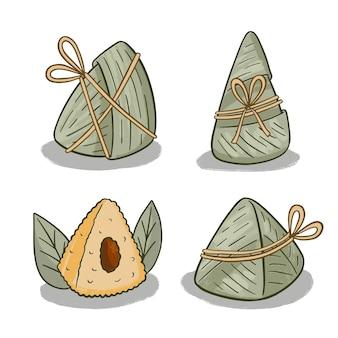 Coleção de zongzi de barcos de dragão desenhada