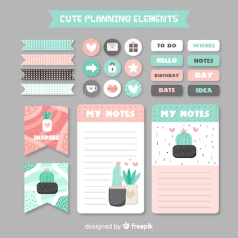 Coleção decorativa de elementos de planejamento