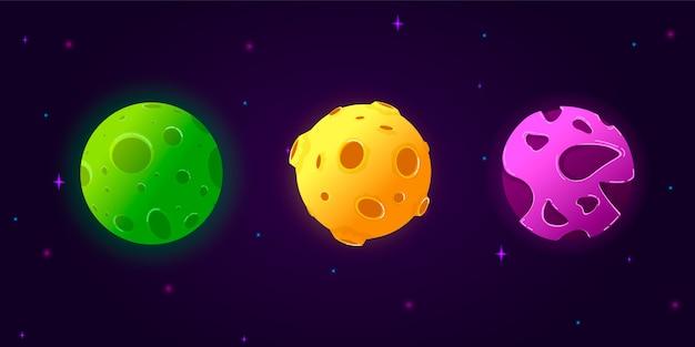 Coleção definida planetas dos desenhos animados.