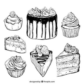 Coleção deliciosa de bolos em estilo desenhado à mão