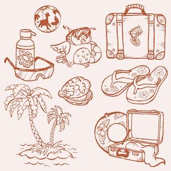 Coleção desenhada à mão de doodles à beira-mar