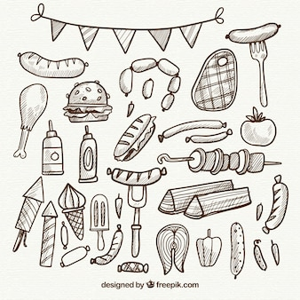 Coleção desenhada a mão de elementos do churrasco em estilo simples