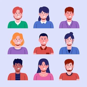 Coleção desenhada à mão de ícones de perfil para homens e mulheres