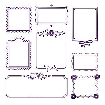 Coleção desenhada à mão de moldura ornamental violeta