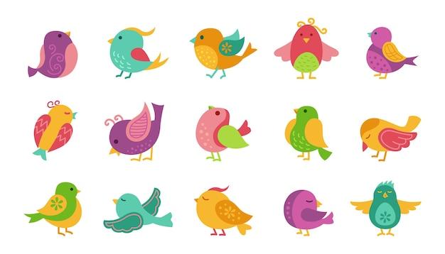 Coleção desenhada à mão de pássaros coloridos em diferentes poses