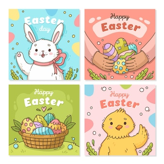 Coleção desenhada à mão de postagens felizes de páscoa no instagram