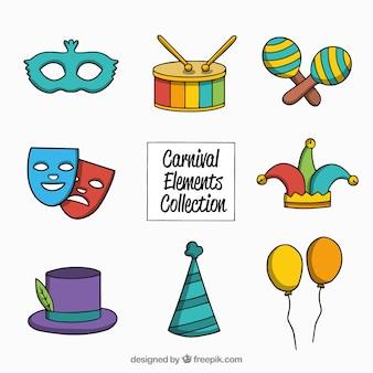 Coleção desenhada à mão do elemento de carnaval