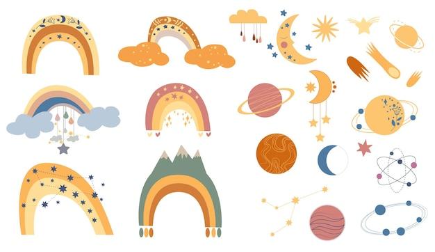 Coleção desenhada à mão para decoração de berçário com lindos arco-íris em cores pastel bohemian kids decorati