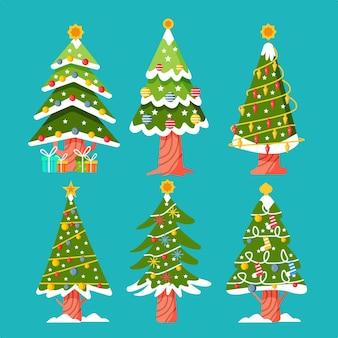 Coleção desenhada de árvores de natal