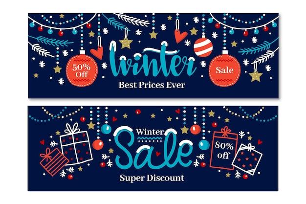 Coleção desenhada de banners de venda de inverno
