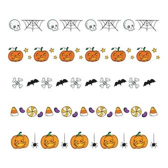 Coleção desenhada de bordas de halloween