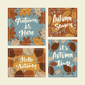 Coleção desenhada de cartões de outono