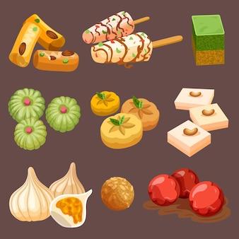 Coleção desenhada de doces indianos