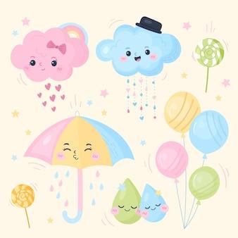 Coleção desenhada de elementos chuva de amor