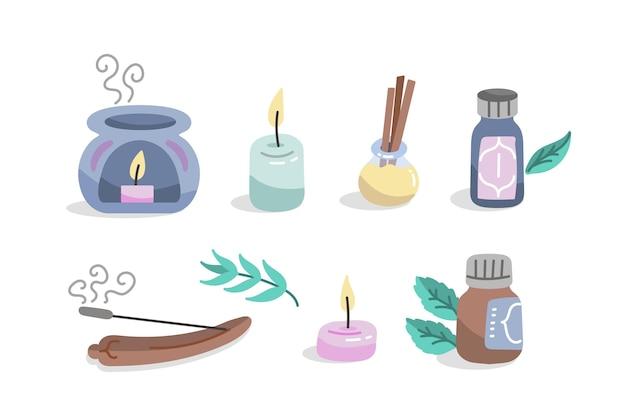 Coleção desenhada de elementos de aromaterapia
