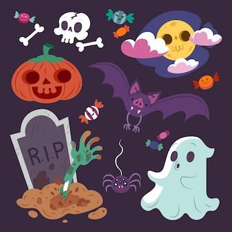 Coleção desenhada de elementos de halloween