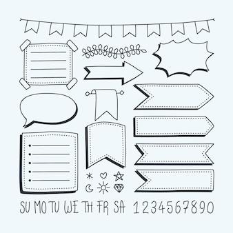 Coleção desenhada de elementos do diário com marcadores