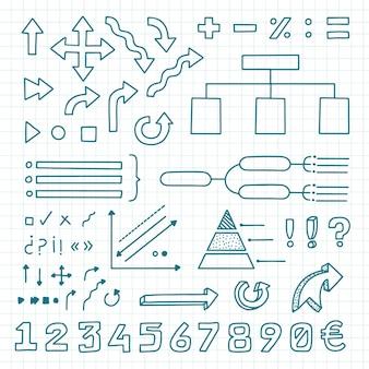 Coleção desenhada de elementos do infográfico escolar
