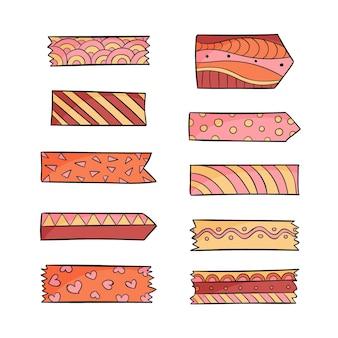 Coleção desenhada de fitas washi