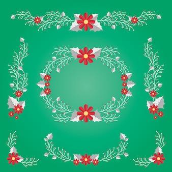 Coleção desenhada de flores de natal