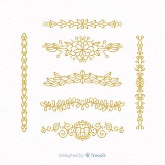 Coleção desenhada de mão ornamental divisor