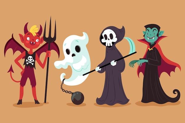Coleção desenhada de personagens de halloween