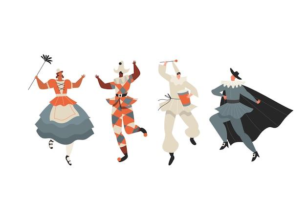 Coleção desenhada de personagens do carnaval italiano