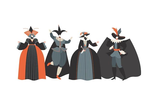 Coleção desenhada de personagens do carnaval veneziano