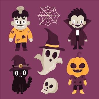 Coleção desenhada de personagens do evento de halloween