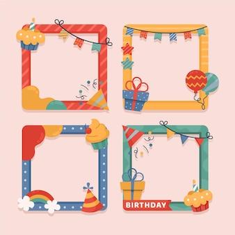 Coleção desenhada de quadros de colagem de aniversário