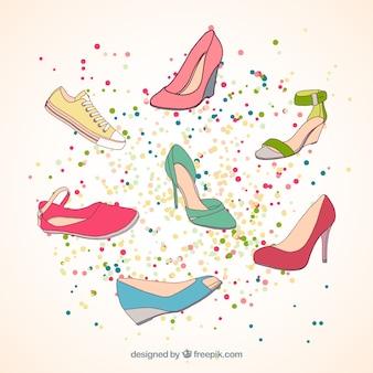 Coleção desenhada mão sapatos