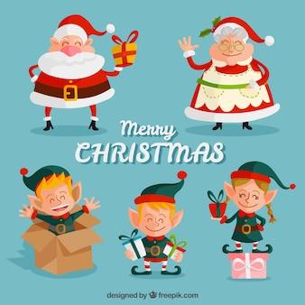 Coleção desenhada personagens de natal