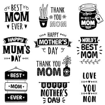 Coleção desenhados à mão: comemorando o dia das mães