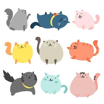 Coleção desenhados mão gatos