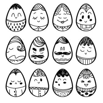 Coleção desenhados mão ovos