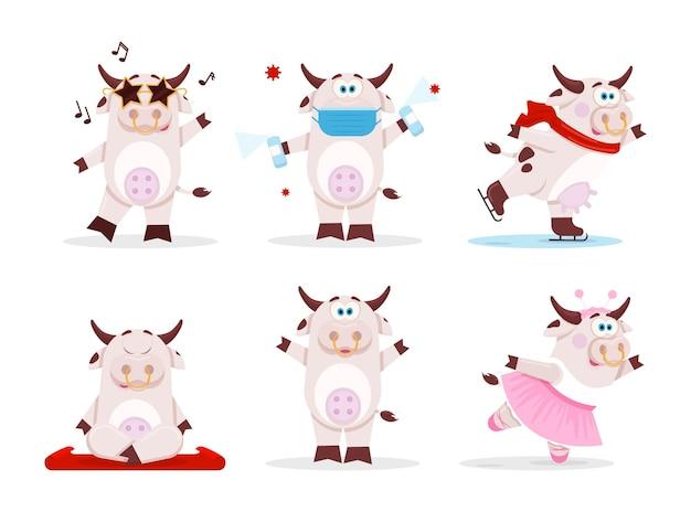 Coleção desenho animado bonito vaca