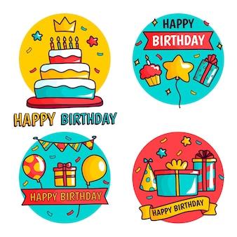 Coleção detalhada de crachás de aniversário