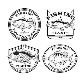 Coleção detalhada de distintivos de pesca vintage