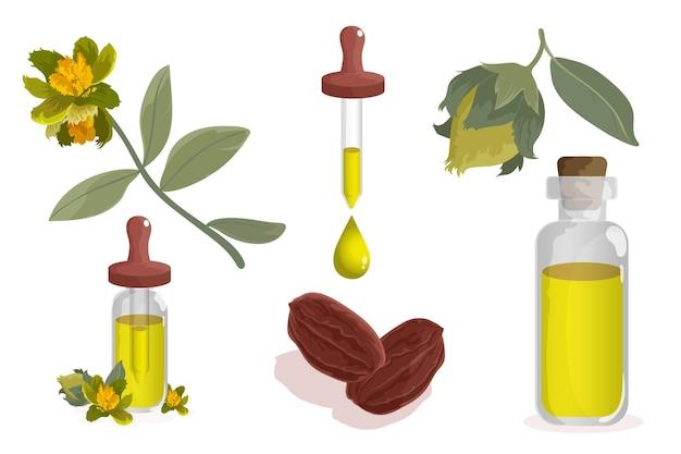 Coleção detalhada de elementos de jojoba
