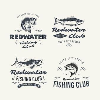 Coleção detalhada de emblemas de pesca vintage
