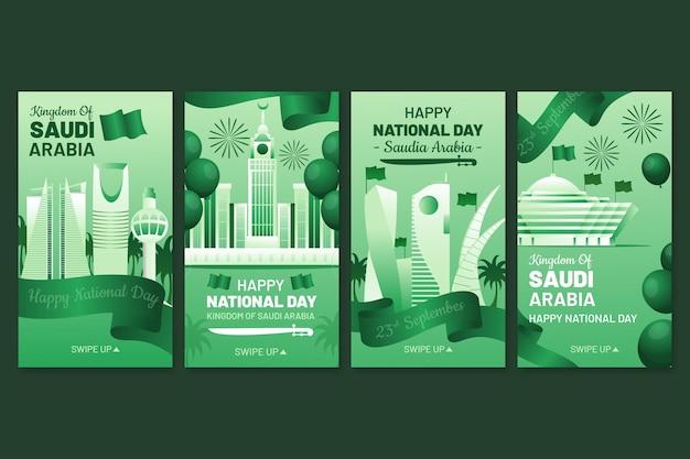 Coleção detalhada de histórias do instagram do dia nacional da saudita