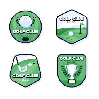 Coleção detalhada de logotipo de golfe