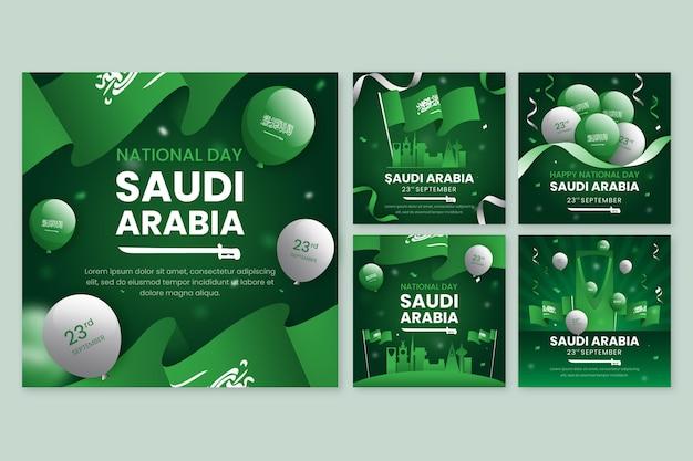 Coleção detalhada de postagens do instagram do dia nacional da saudita
