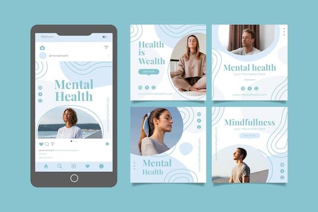 Coleção detalhada de postagens do instagram sobre saúde mental com foto