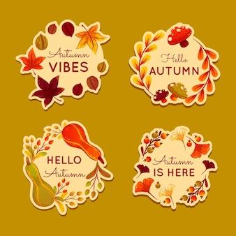 Coleção detalhada de rótulos de outono