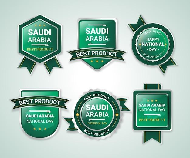 Coleção detalhada de rótulos do dia nacional da saudita