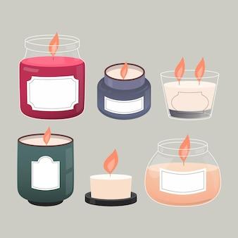 Coleção detalhada de velas perfumadas
