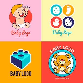 Coleção detalhada do logotipo do bebê