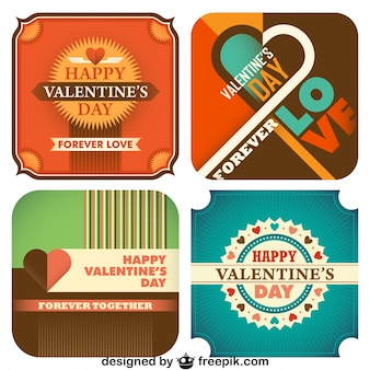 Coleção dia dos namorados de cartão do vintage